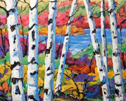 Canadian Birches original acrylic painting created by Prankearts